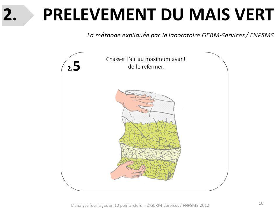 10 L'analyse fourrages en 10 points-clefs - ©GERM-Services / FNPSMS 2012 2. 5 Chasser lair au maximum avant de le refermer. 2. PRELEVEMENT DU MAIS VER