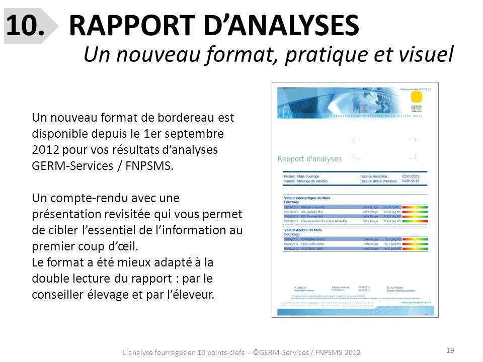 19 L'analyse fourrages en 10 points-clefs - ©GERM-Services / FNPSMS 2012 10. RAPPORT DANALYSES Un nouveau format, pratique et visuel Un nouveau format