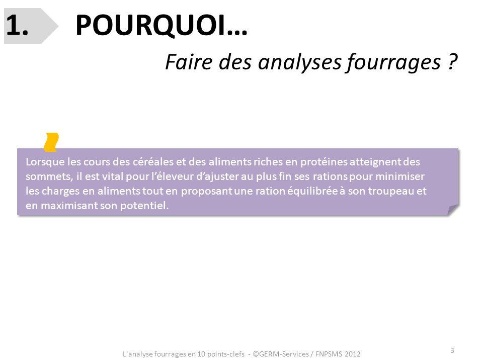 3 L'analyse fourrages en 10 points-clefs - ©GERM-Services / FNPSMS 2012 1. POURQUOI… Faire des analyses fourrages ? Lorsque les cours des céréales et