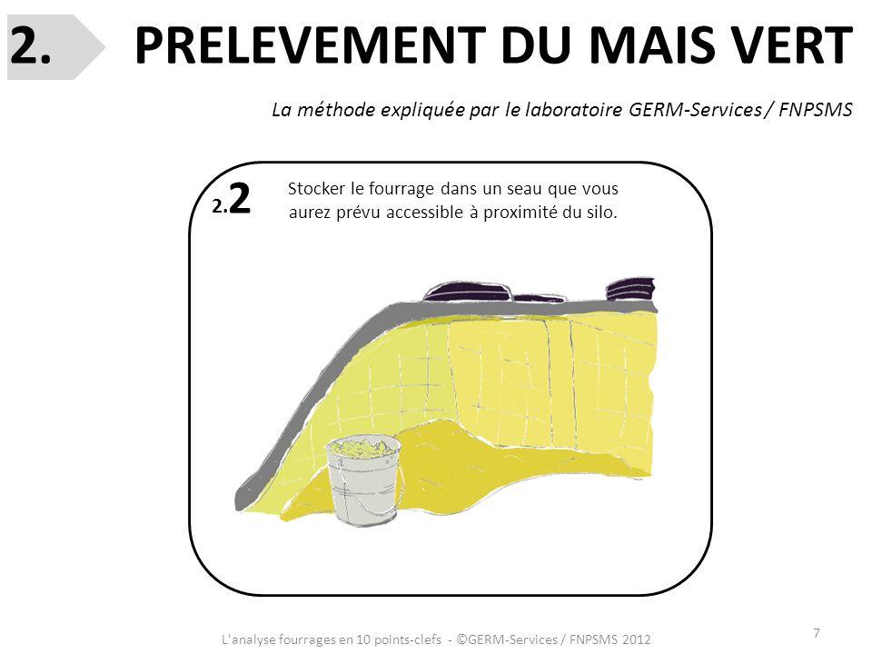 7 L'analyse fourrages en 10 points-clefs - ©GERM-Services / FNPSMS 2012 2. 2 Stocker le fourrage dans un seau que vous aurez prévu accessible à proxim
