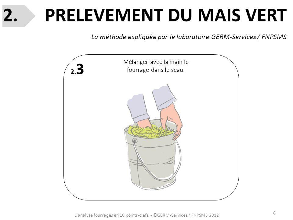 8 L'analyse fourrages en 10 points-clefs - ©GERM-Services / FNPSMS 2012 2. 3 Mélanger avec la main le fourrage dans le seau. 2. PRELEVEMENT DU MAIS VE