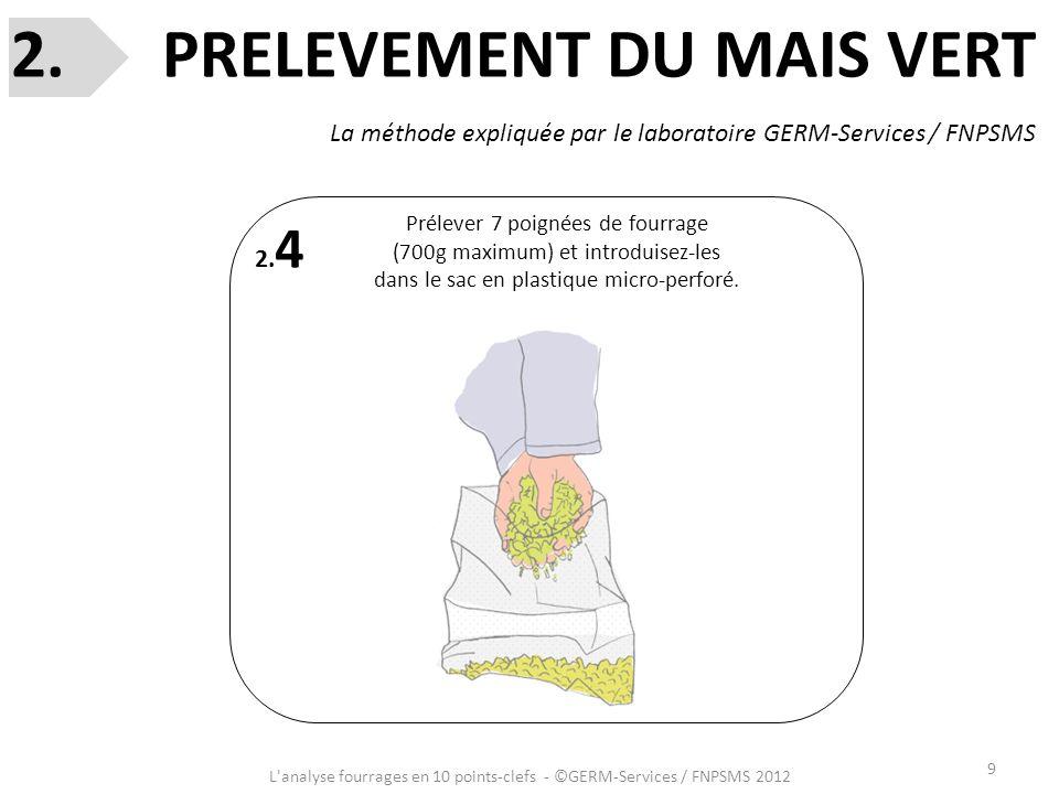 9 L'analyse fourrages en 10 points-clefs - ©GERM-Services / FNPSMS 2012 2. 4 Prélever 7 poignées de fourrage (700g maximum) et introduisez-les dans le