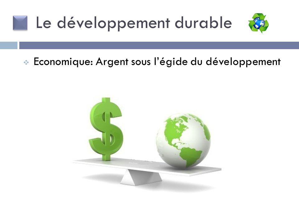 Le développement durable Economique: Argent sous légide du développement