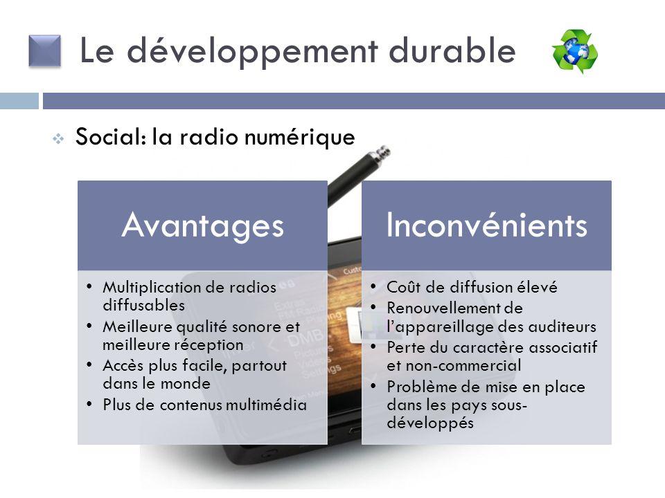 Le développement durable Avantages Multiplication de radios diffusables Meilleure qualité sonore et meilleure réception Accès plus facile, partout dan
