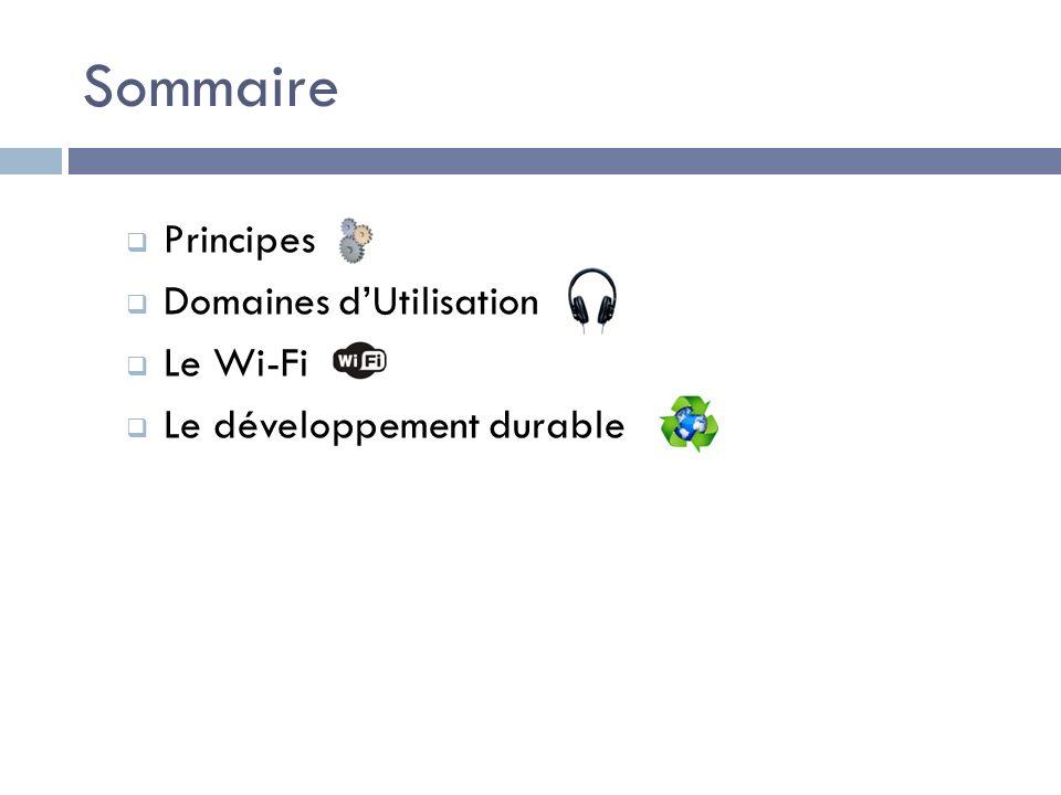 Sommaire Principes Domaines dUtilisation Le Wi-Fi Le développement durable