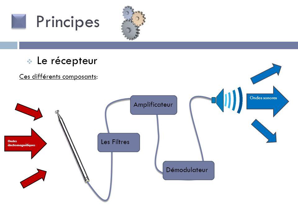 Ces différents composants: Le récepteur Ondes électromagnétiques Ondes sonores Les Filtres Amplificateur Démodulateur Principes