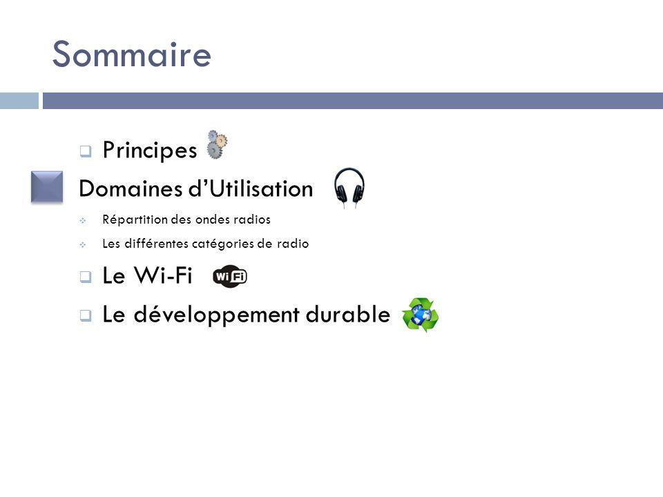 Sommaire Principes Domaines dUtilisation Répartition des ondes radios Les différentes catégories de radio Le Wi-Fi Le développement durable