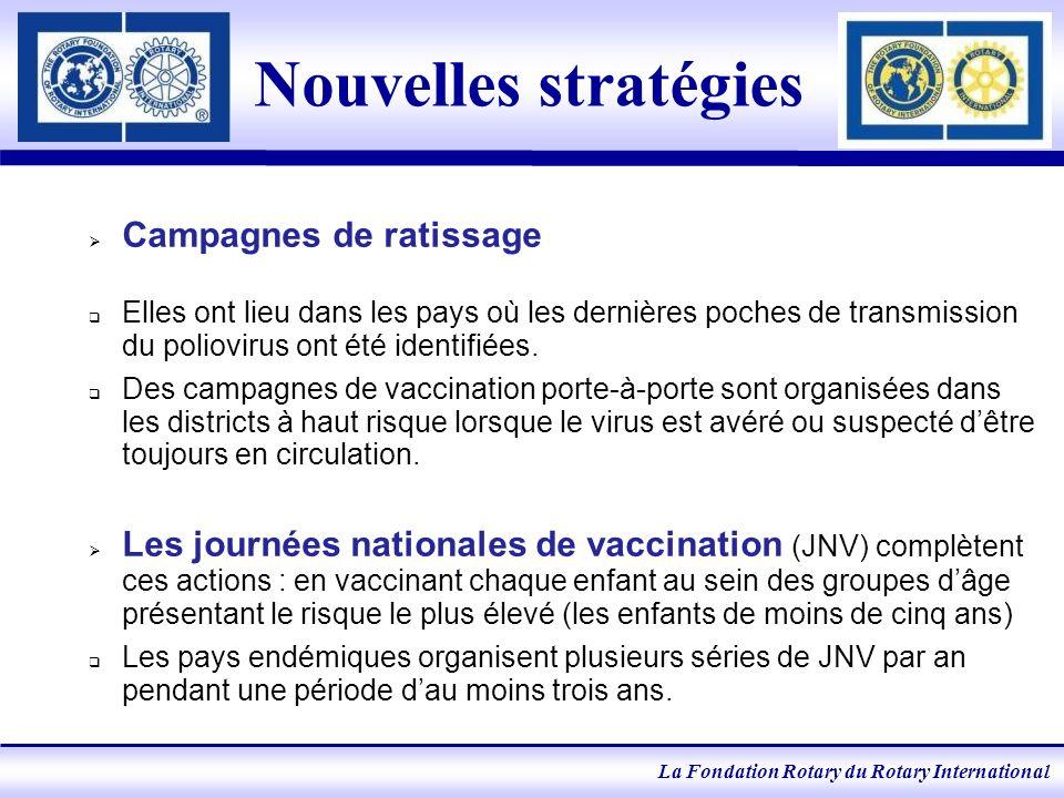 La Fondation Rotary du Rotary International Nouvelles stratégies Campagnes de ratissage Elles ont lieu dans les pays où les dernières poches de transmission du poliovirus ont été identifiées.