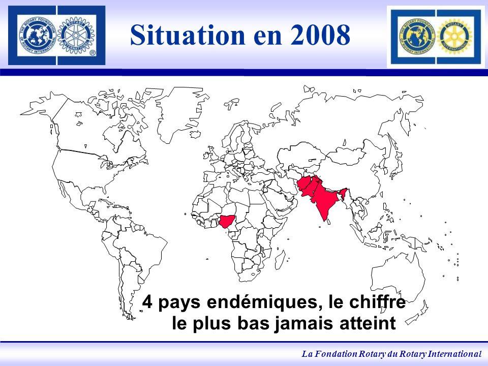 La Fondation Rotary du Rotary International Situation en 2008 4 pays endémiques, le chiffre le plus bas jamais atteint