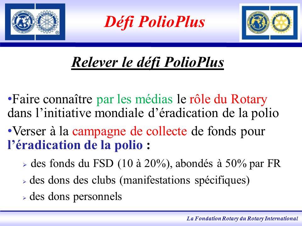 La Fondation Rotary du Rotary International Défi PolioPlus Relever le défi PolioPlus Faire connaître par les médias le rôle du Rotary dans linitiative mondiale déradication de la polio Verser à la campagne de collecte de fonds pour léradication de la polio : des fonds du FSD (10 à 20%), abondés à 50% par FR des dons des clubs (manifestations spécifiques) des dons personnels