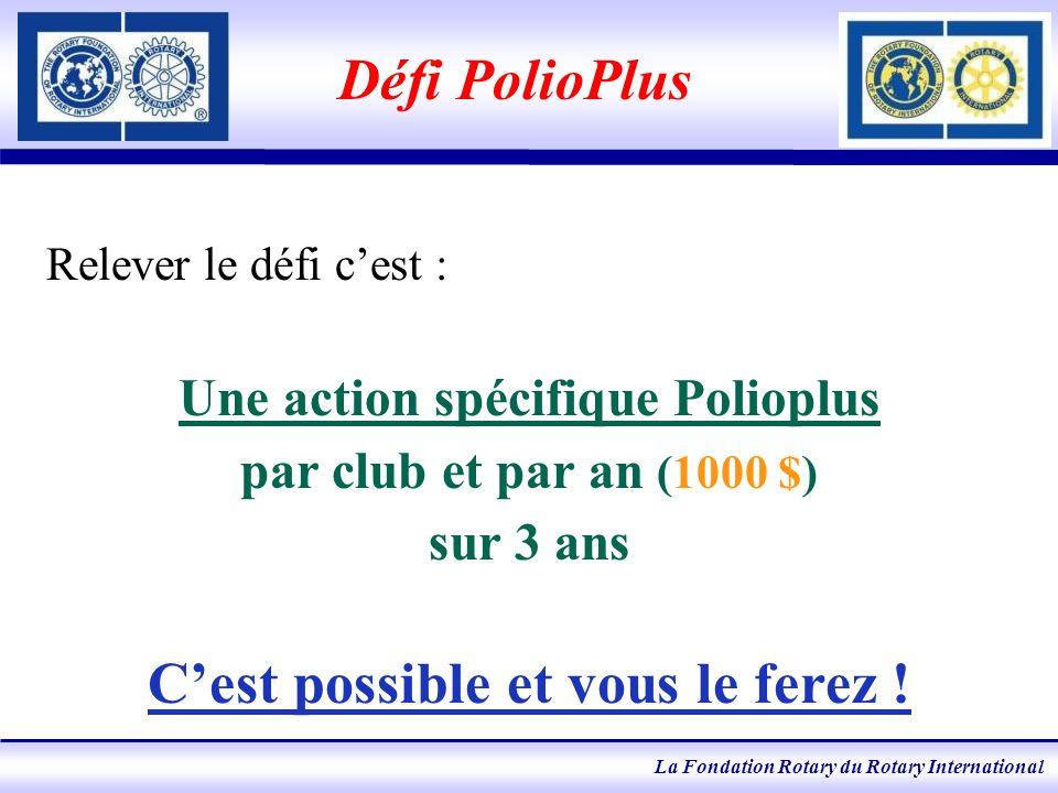 La Fondation Rotary du Rotary International Défi PolioPlus Relever le défi cest : Une action spécifique Polioplus par club et par an (1000 $) sur 3 ans Cest possible et vous le ferez !