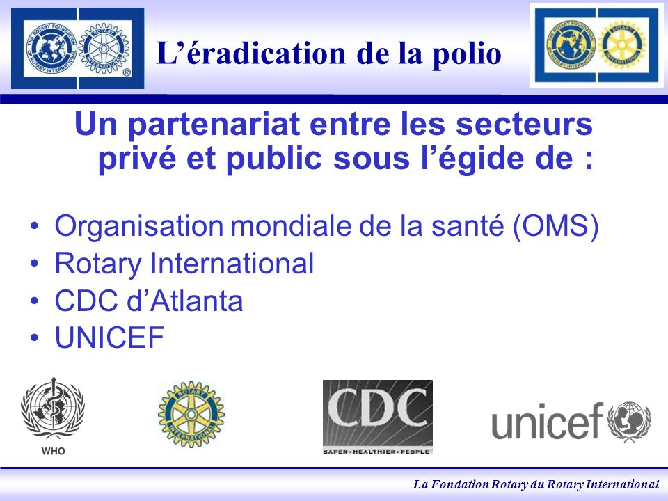 La Fondation Rotary du Rotary International Léradication de la polio Un partenariat entre les secteurs privé et public sous légide de : Organisation mondiale de la santé (OMS) Rotary International CDC dAtlanta UNICEF