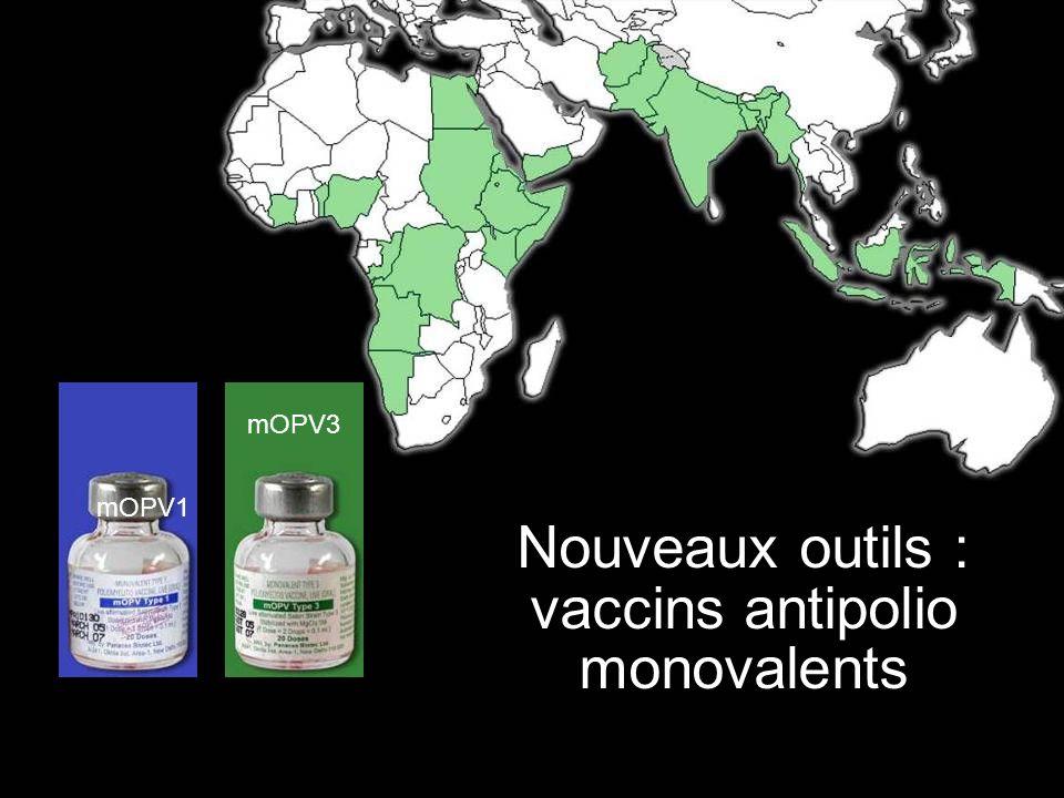 La Fondation Rotary du Rotary International Nouveaux outils Développement de meilleurs vaccins: Développement récent dune nouvelle version du vaccin oral dont lefficacité est supérieure : monovalent, il se concentre sur un seul des trois types de poliovirus (type 1 ou type 3).