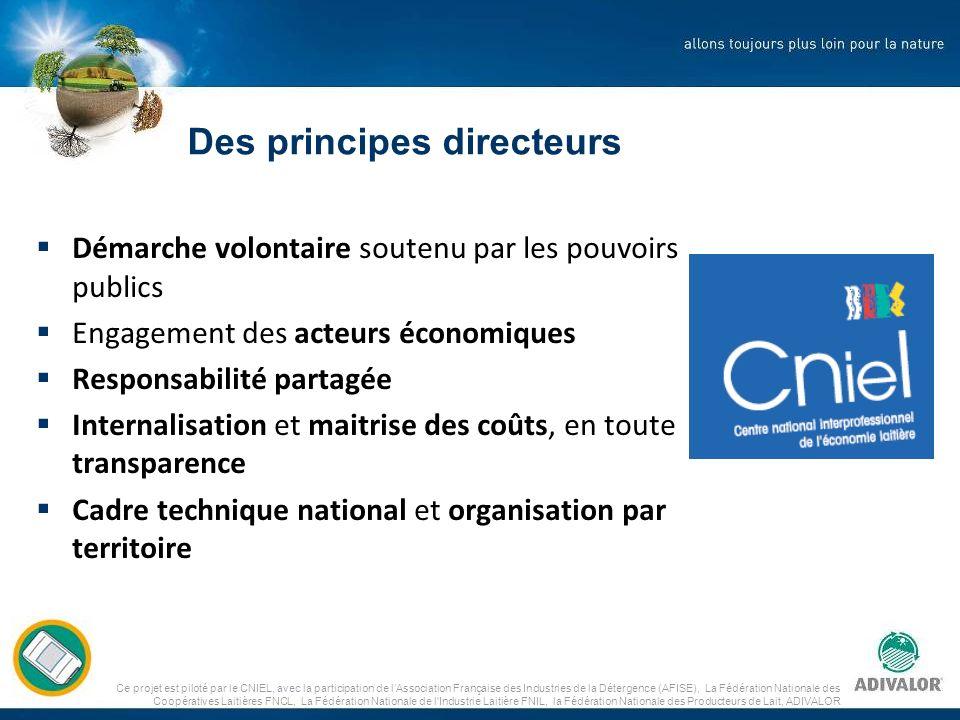 Ce projet est piloté par le CNIEL, avec la participation de lAssociation Française des Industries de la Détergence (AFISE), La Fédération Nationale des Coopératives Laitières FNCL, La Fédération Nationale de l Industrie Laitière FNIL, la Fédération Nationale des Producteurs de Lait, ADIVALOR