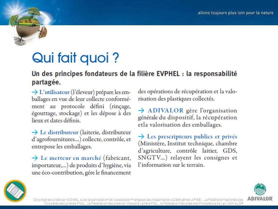 Ce projet est piloté par le CNIEL, avec la participation de lAssociation Française des Industries de la Détergence (AFISE), La Fédération Nationale des Coopératives Laitières FNCL, La Fédération Nationale de l Industrie Laitière FNIL, la Fédération Nationale des Producteurs de Lait, ADIVALOR Soutiens financiers .