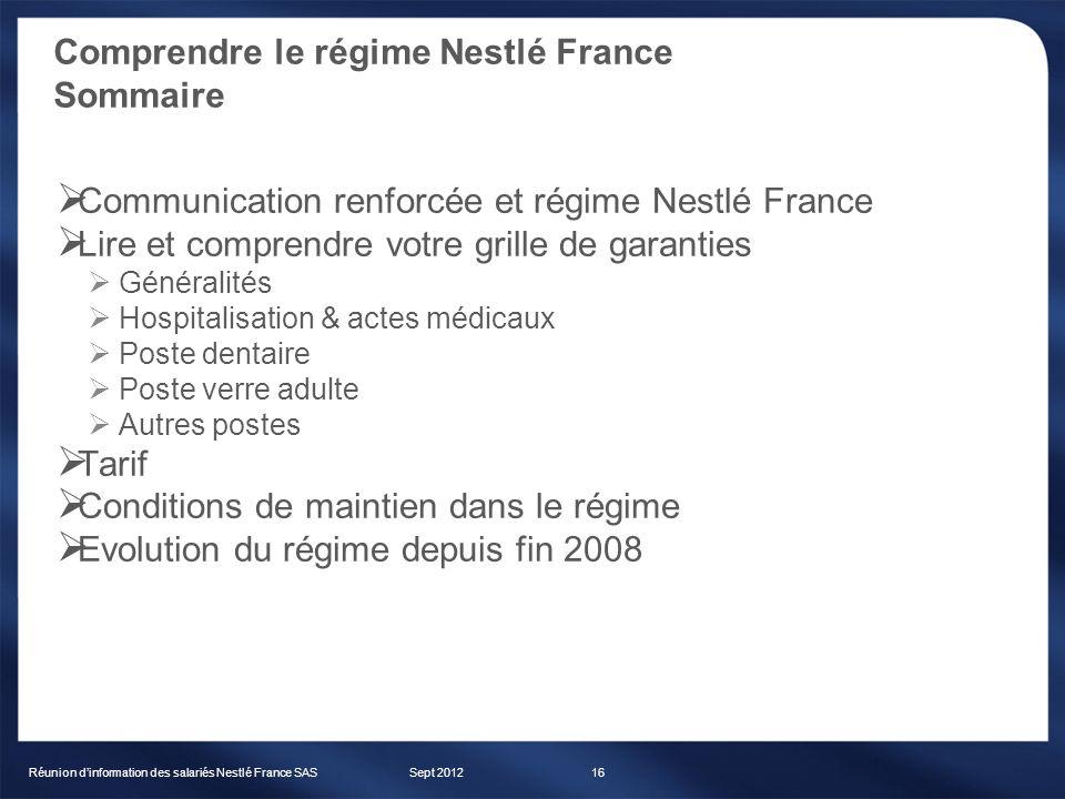 Comprendre le régime Nestlé France Sommaire Sept 2012Réunion dinformation des salariés Nestlé France SAS16 Communication renforcée et régime Nestlé Fr