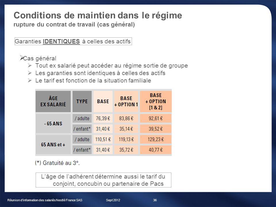Conditions de maintien dans le régime rupture du contrat de travail (cas général) Sept 2012Réunion dinformation des salariés Nestlé France SAS36 Cas g