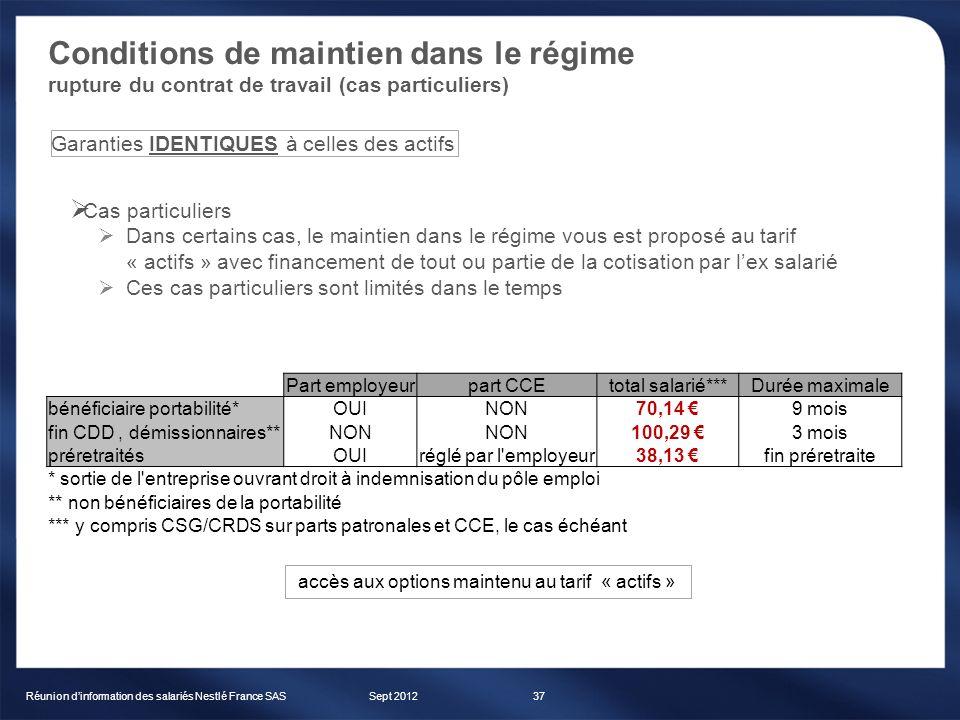 Conditions de maintien dans le régime rupture du contrat de travail (cas particuliers) Sept 2012Réunion dinformation des salariés Nestlé France SAS37