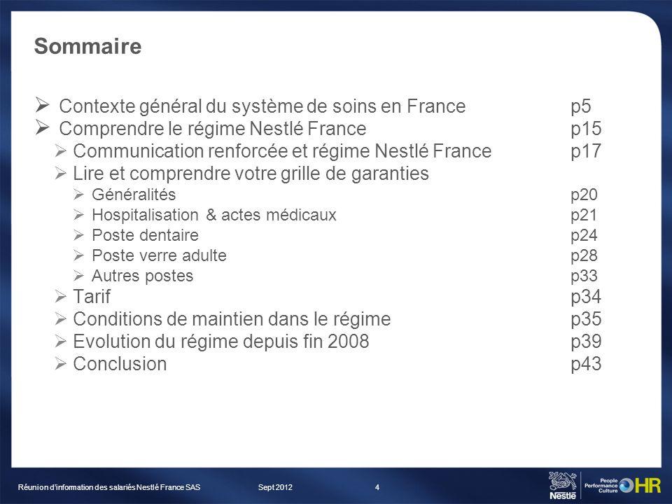 Sommaire Contexte général du système de soins en Francep5 Comprendre le régime Nestlé Francep15 Communication renforcée et régime Nestlé Francep17 Lir