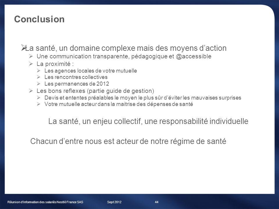 Conclusion Sept 2012Réunion dinformation des salariés Nestlé France SAS44 La santé, un domaine complexe mais des moyens daction Une communication tran