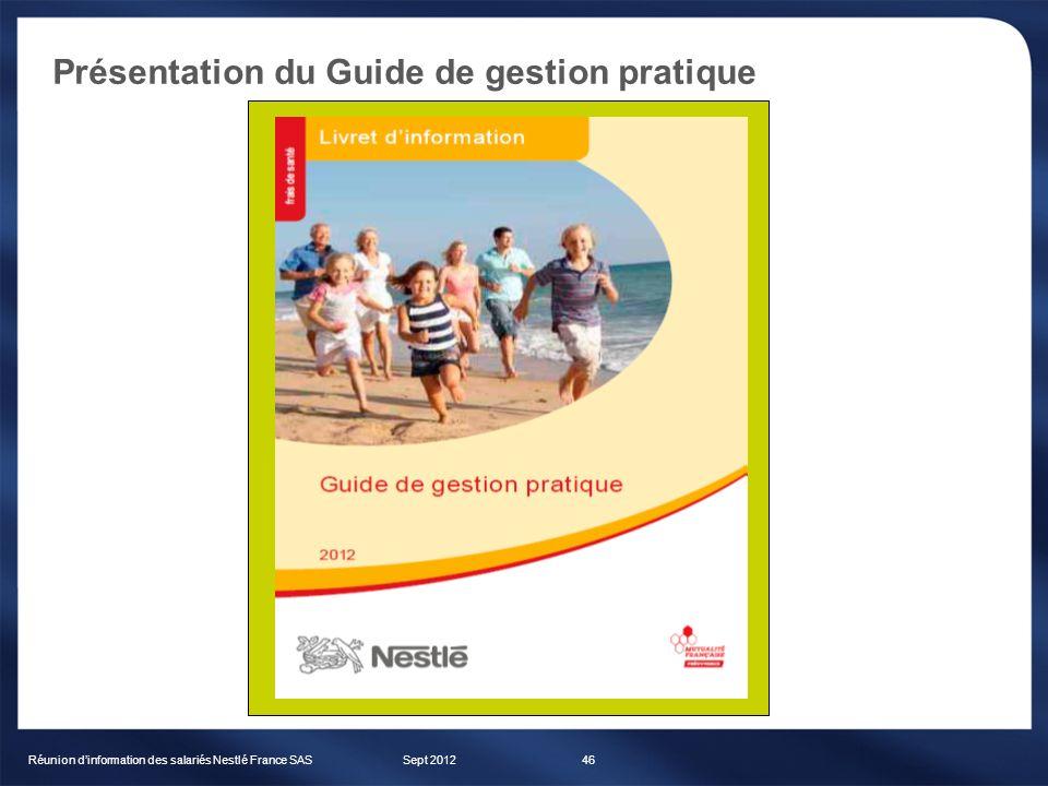 Présentation du Guide de gestion pratique Sept 2012Réunion dinformation des salariés Nestlé France SAS46