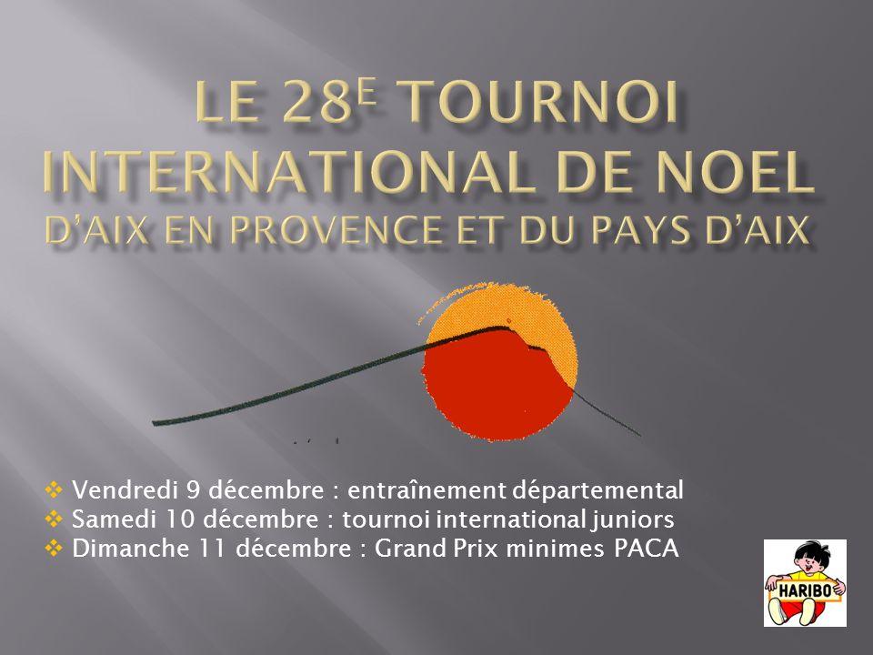 Vendredi 9 décembre : entraînement départemental Samedi 10 décembre : tournoi international juniors Dimanche 11 décembre : Grand Prix minimes PACA