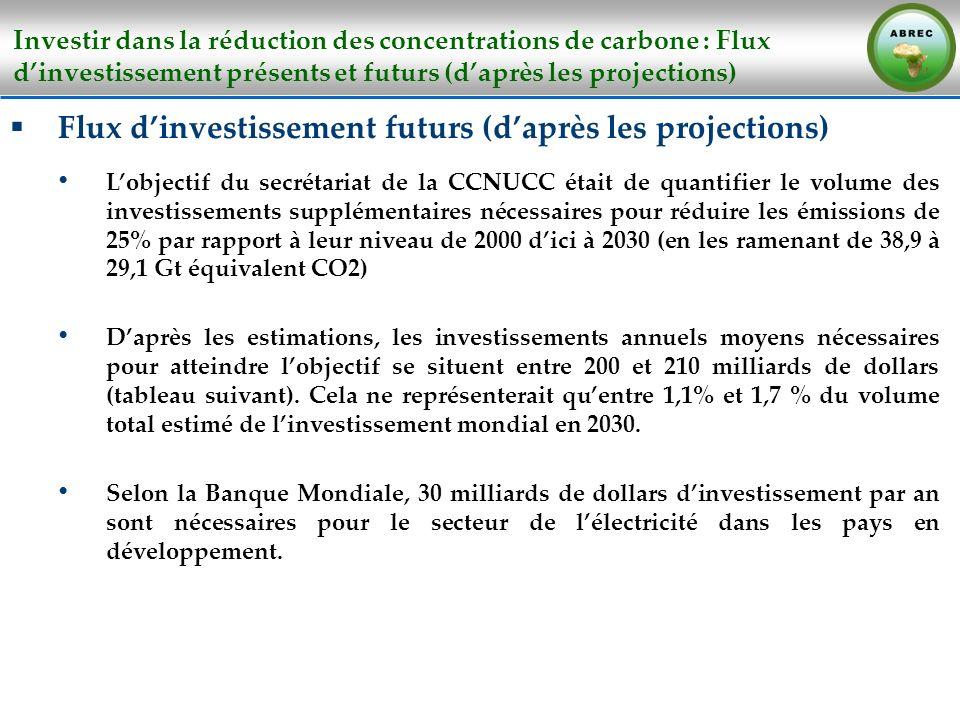 Investir dans la réduction des concentrations de carbone : Flux dinvestissement présents et futurs (daprès les projections) Flux dinvestissement futur