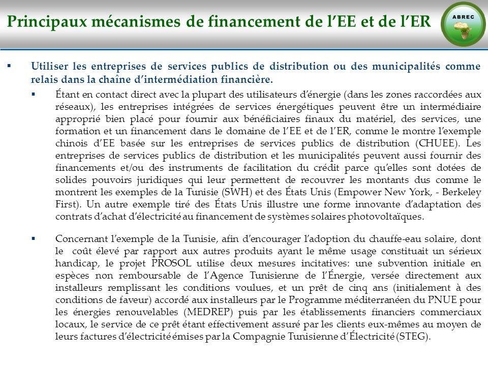 Principaux mécanismes de financement de lEE et de lER Utiliser les entreprises de services publics de distribution ou des municipalités comme relais d
