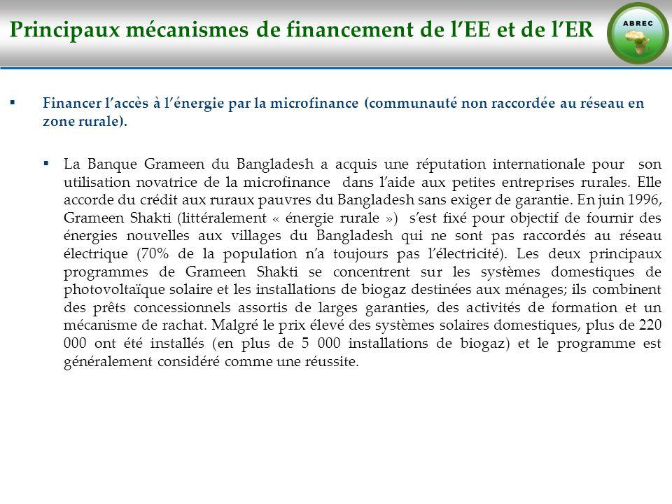 Principaux mécanismes de financement de lEE et de lER Financer laccès à lénergie par la microfinance (communauté non raccordée au réseau en zone rural