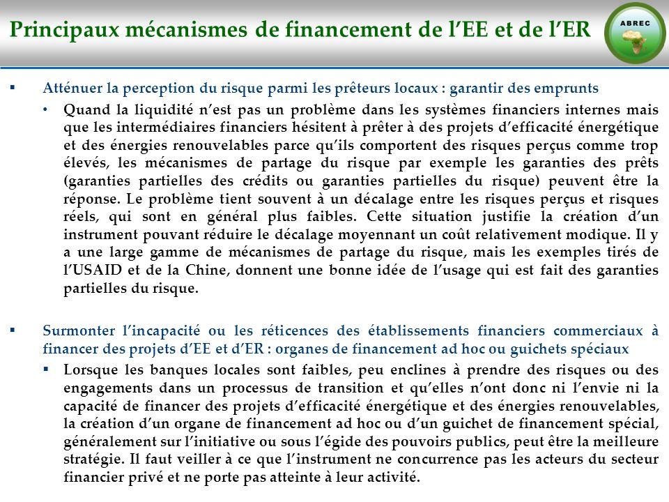 Principaux mécanismes de financement de lEE et de lER Atténuer la perception du risque parmi les prêteurs locaux : garantir des emprunts Quand la liqu