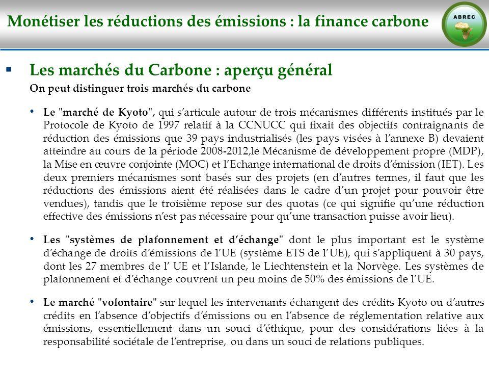 Monétiser les réductions des émissions : la finance carbone Les marchés du Carbone : aperçu général On peut distinguer trois marchés du carbone Le