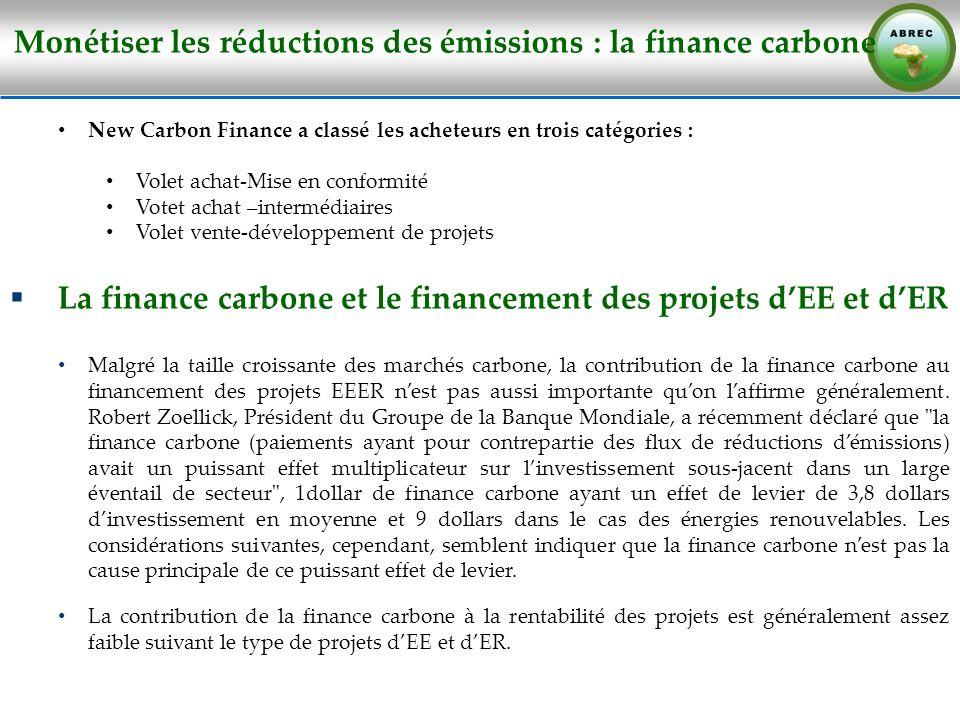 Monétiser les réductions des émissions : la finance carbone New Carbon Finance a classé les acheteurs en trois catégories : Volet achat-Mise en confor