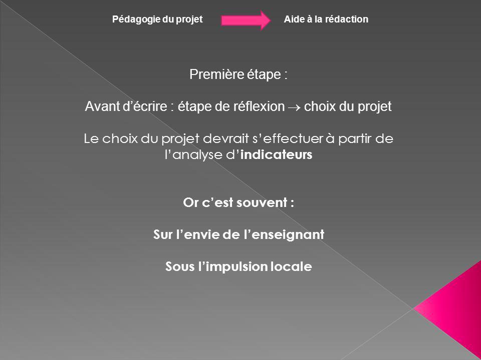 Pédagogie du projet Aide à la rédaction Première étape : Avant décrire : étape de réflexion choix du projet Le choix du projet devrait seffectuer à pa