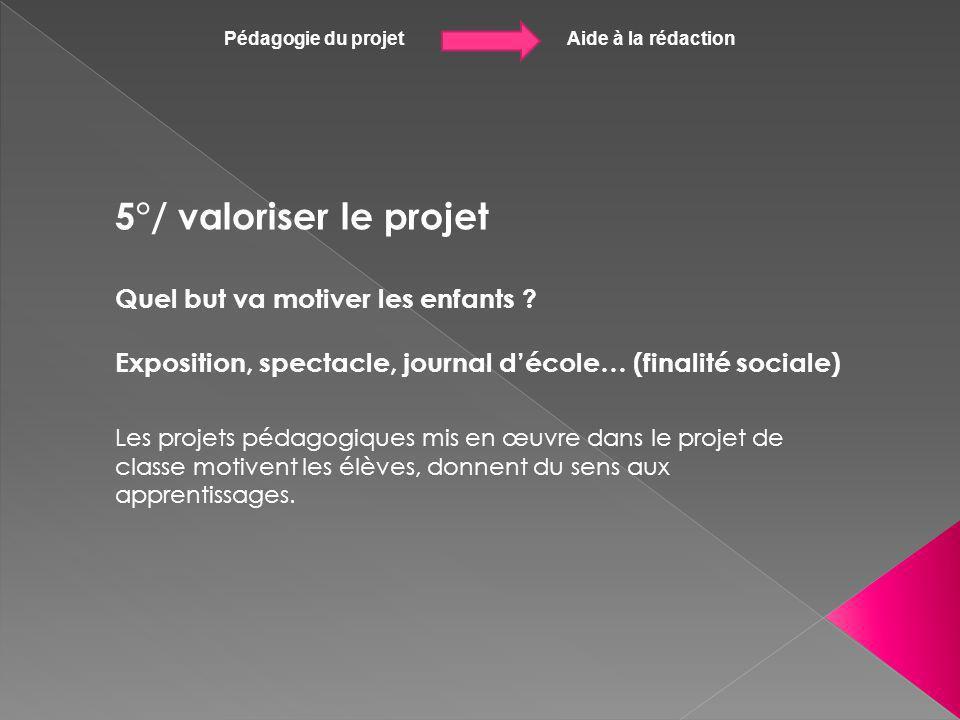 Pédagogie du projet Aide à la rédaction 5°/ valoriser le projet Quel but va motiver les enfants ? Exposition, spectacle, journal décole… (finalité soc