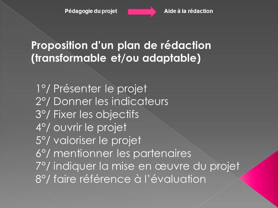 Pédagogie du projet Aide à la rédaction Proposition dun plan de rédaction (transformable et/ou adaptable) 1°/ Présenter le projet 2°/ Donner les indic