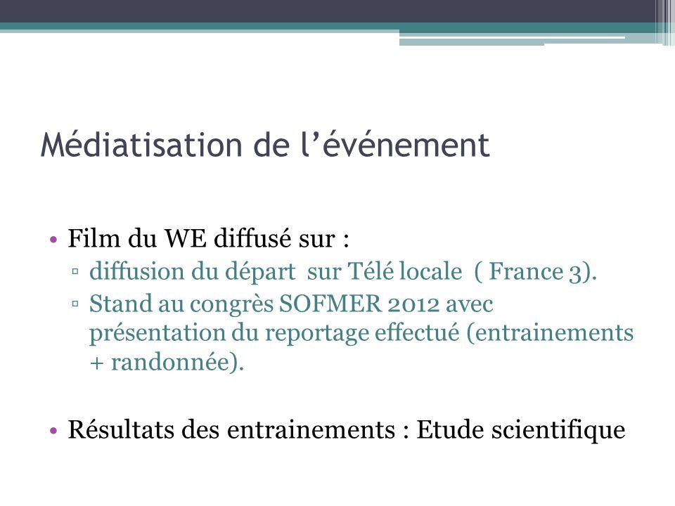 Médiatisation de lévénement Film du WE diffusé sur : diffusion du départ sur Télé locale ( France 3). Stand au congrès SOFMER 2012 avec présentation d