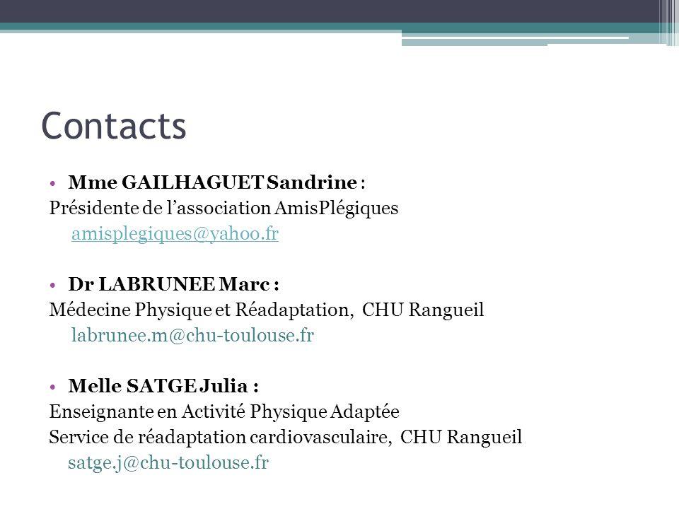Contacts Mme GAILHAGUET Sandrine : Présidente de lassociation AmisPlégiques amisplegiques@yahoo.fr Dr LABRUNEE Marc : Médecine Physique et Réadaptatio