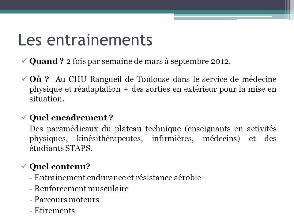 Les entrainements Quand ? 2 fois par semaine de mars à septembre 2012. Où ? Au CHU Rangueil de Toulouse dans le service de médecine physique et réadap