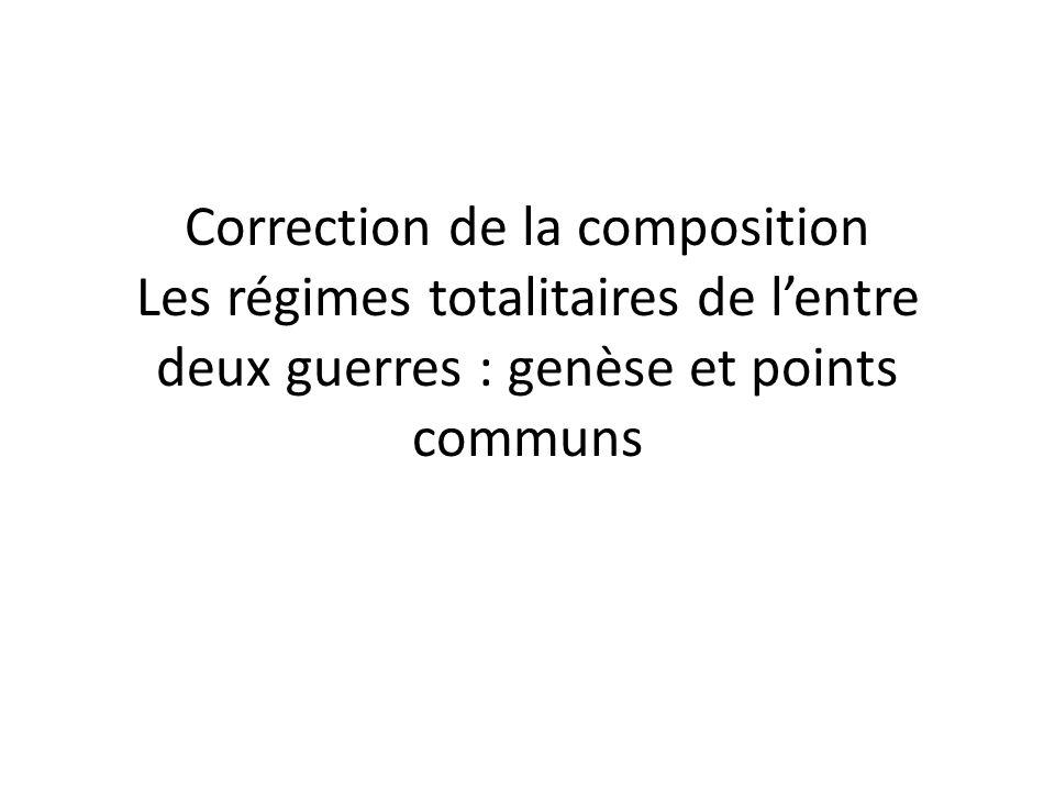 Correction de la composition Les régimes totalitaires de lentre deux guerres : genèse et points communs