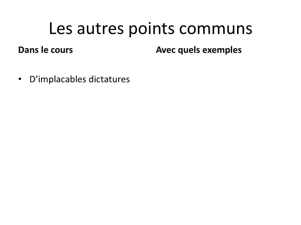 Les autres points communs Dimplacables dictatures Dans le coursAvec quels exemples
