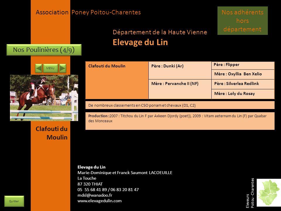 APPC Présidente Lynda JOURDAIN La Gravière 79400 AUGE 06 27 34 23 78 Association Poney Poitou-Charentes Nos Poulinières (4/9) Clafouti du MoulinPère :