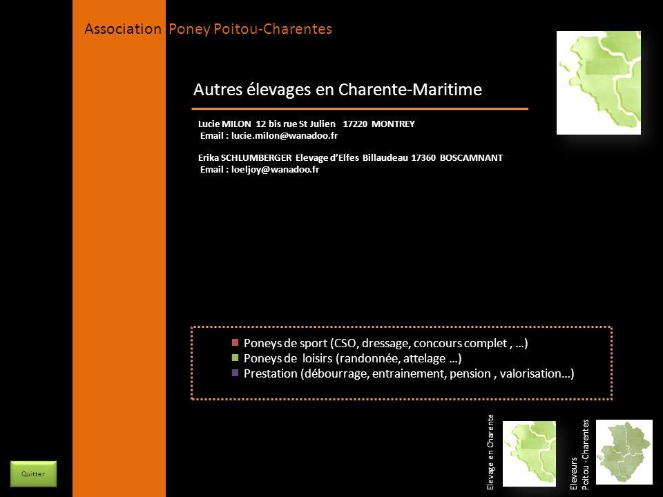 APPC Présidente Lynda JOURDAIN La Gravière 79400 AUGE 06 27 34 23 78 Association Poney Poitou-Charentes Autres élevages en Charente-Maritime Eleveurs