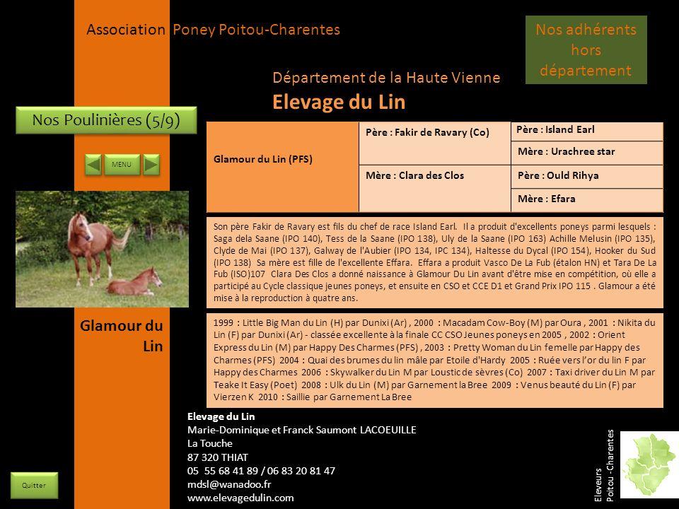APPC Présidente Lynda JOURDAIN La Gravière 79400 AUGE 06 27 34 23 78 Association Poney Poitou-Charentes Nos Poulinières (5/9) Glamour du Lin (PFS) Pèr
