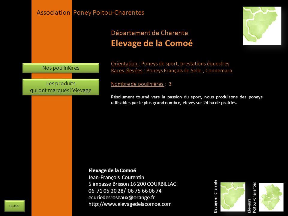 APPC Présidente Lynda JOURDAIN La Gravière 79400 AUGE 06 27 34 23 78 Association Poney Poitou-Charentes Orientation : Poneys de sport, prestations équ