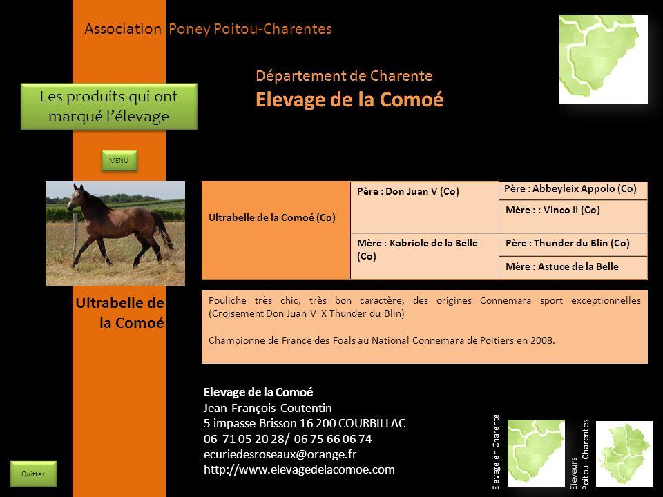 APPC Présidente Lynda JOURDAIN La Gravière 79400 AUGE 06 27 34 23 78 Association Poney Poitou-Charentes Les produits qui ont marqué lélevage Ultrabell
