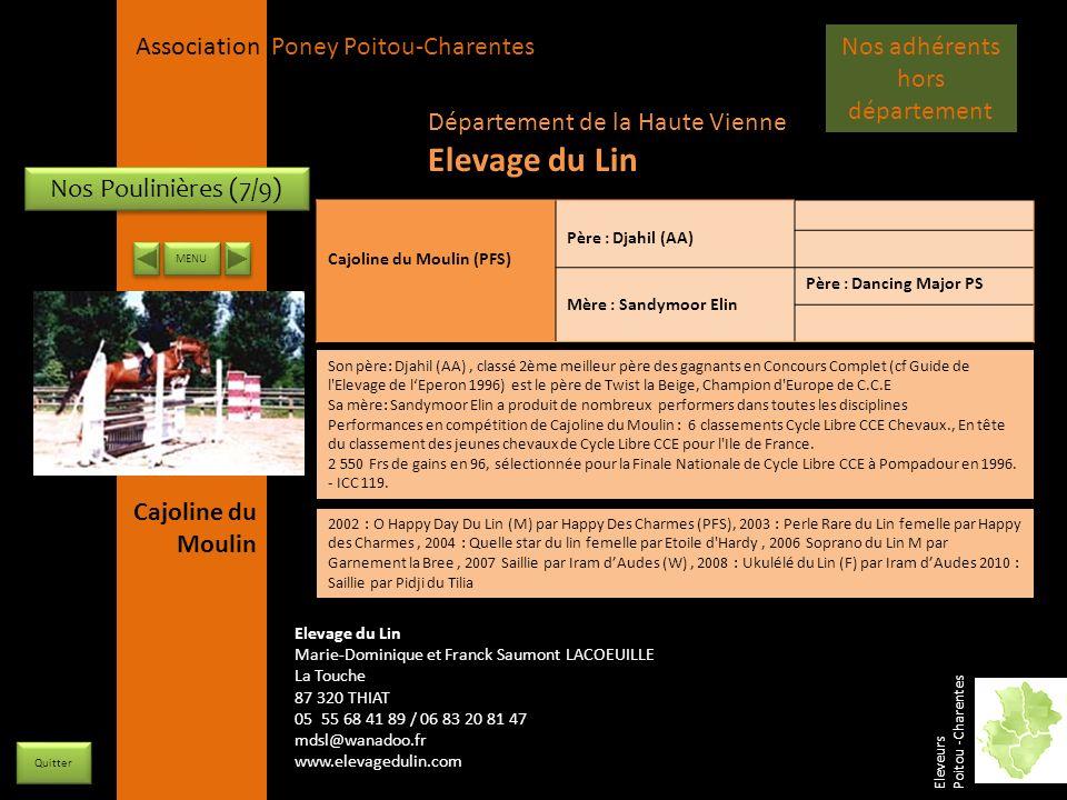 APPC Présidente Lynda JOURDAIN La Gravière 79400 AUGE 06 27 34 23 78 Association Poney Poitou-Charentes Nos Poulinières (7/9) Cajoline du Moulin (PFS)