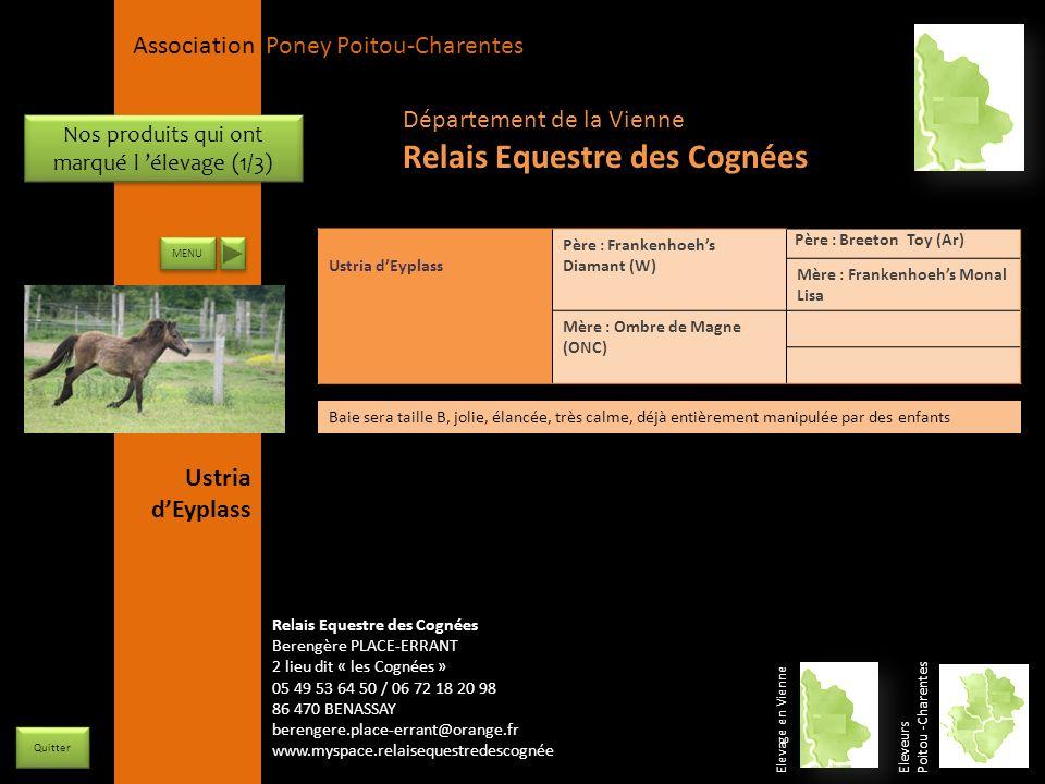 APPC Présidente Lynda JOURDAIN La Gravière 79400 AUGE 06 27 34 23 78 Association Poney Poitou-Charentes Nos produits qui ont marqué l élevage (1/3) ME