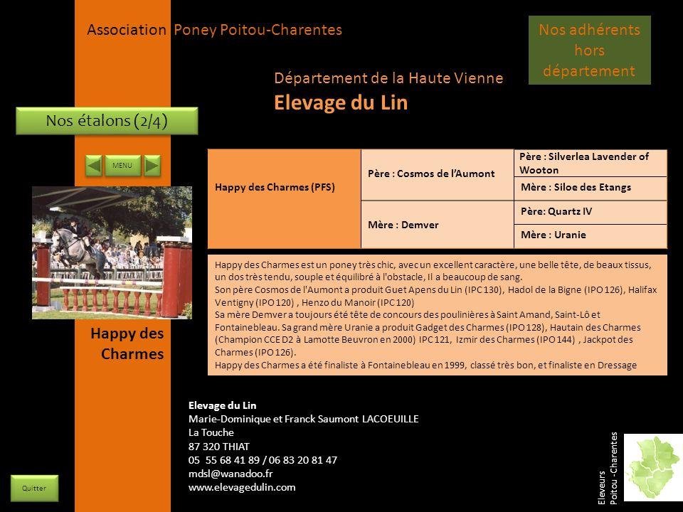 APPC Présidente Lynda JOURDAIN La Gravière 79400 AUGE 06 27 34 23 78 Association Poney Poitou-Charentes Nos étalons (2/4) Happy des Charmes (PFS) Père