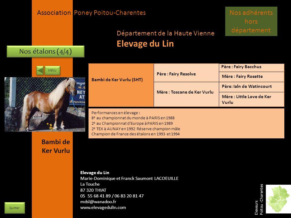 APPC Présidente Lynda JOURDAIN La Gravière 79400 AUGE 06 27 34 23 78 Association Poney Poitou-Charentes Nos étalons (4/4) Bambi de Ker Vurlu (SHT) Pèr