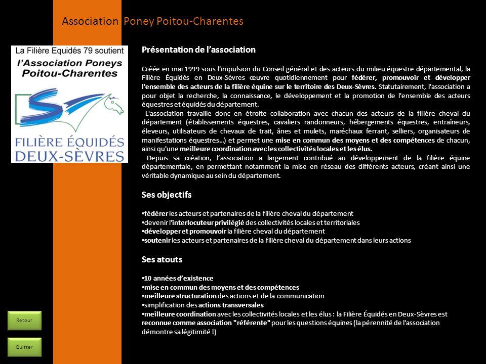 APPC Présidente Lynda JOURDAIN La Gravière 79400 AUGE 06 27 34 23 78 Association Poney Poitou-Charentes Présentation de lassociation Créée en mai 1999
